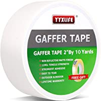 Premium Grade Gaffers Tape, Heavy Duty Non-Reflective Matte No Residue Gaff Main Stage Tape,Electrical Tape,Duct Tape for Photographers,Waterproof Gaffer Tape (2 Inch X 10 Yards, White)