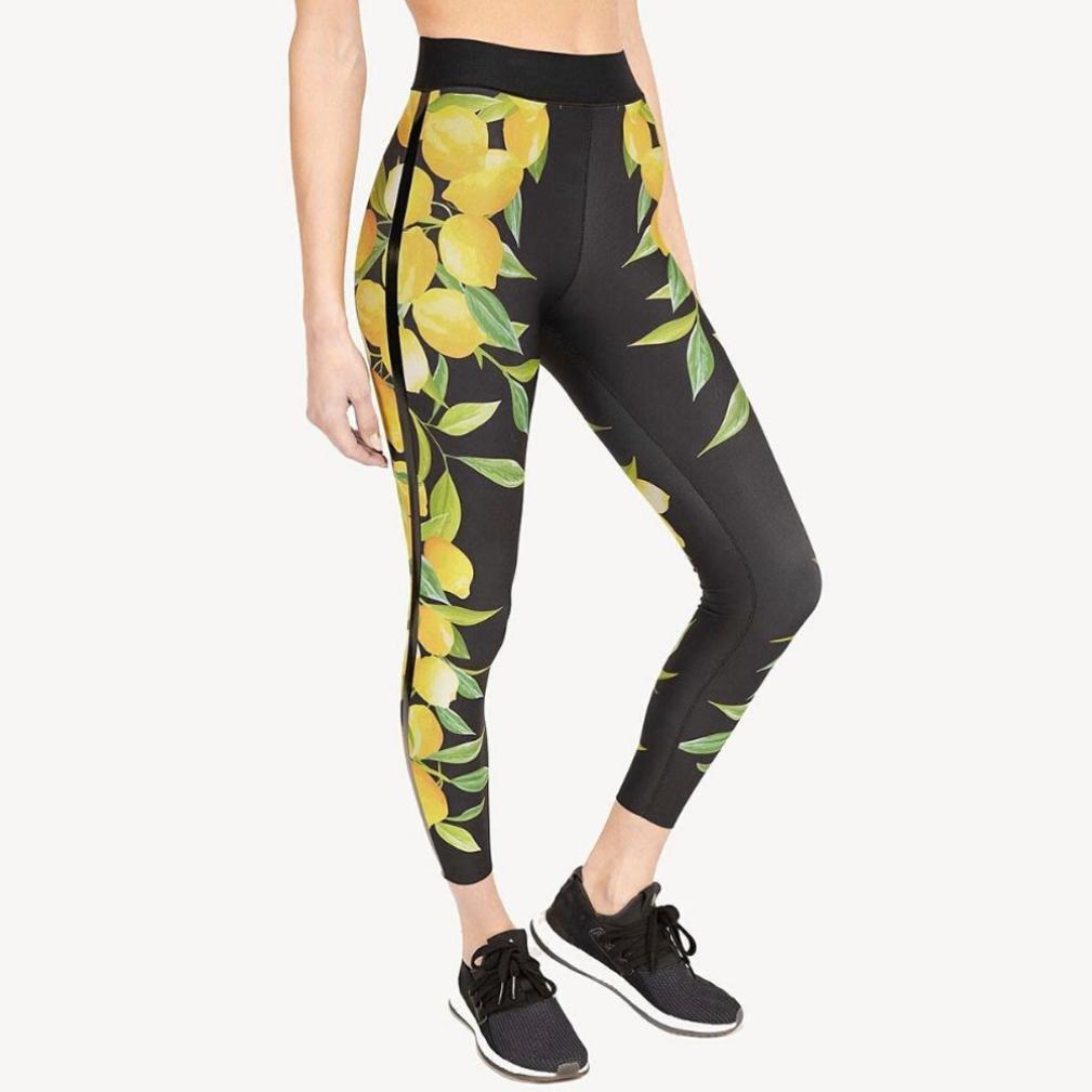 9975c93274d10 2019 New Women's Lemon Print Yoga Pants High Waist 4 Way Stretch Workout  Leggings by E-Scenery at Amazon Women's Clothing store: