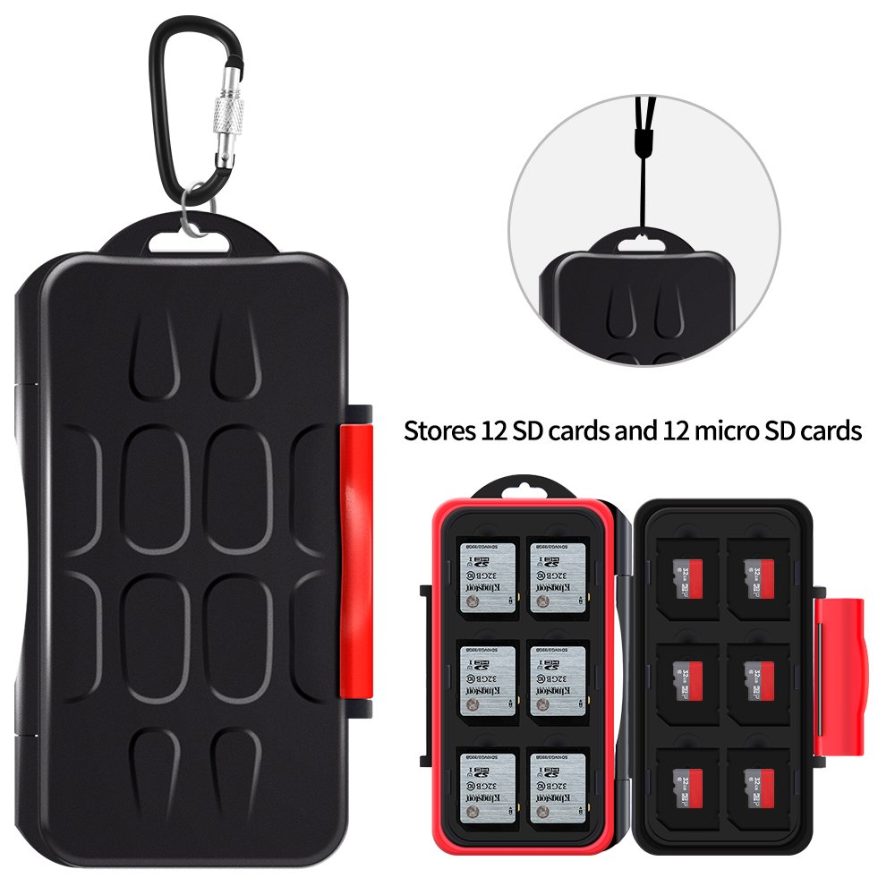 YOUKaDa Water-resistant Memory Card Case Holder Storage With Carabiner For 12 SD Cards & 12 Micro SD Cards (Red)