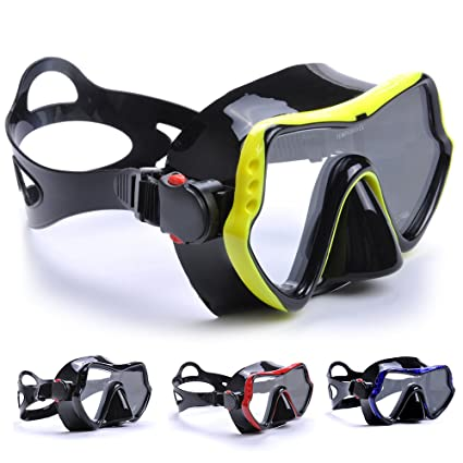 38aa91462847 YFX Create Diving Mask Nose Cover Swim Goggles Scuba Freediving Swimming  Mask for Men Women Adult (Yellow)  Amazon.co.uk  Sports   Outdoors