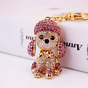 Cute Bling Shiny Crystal Dog Keychain Purse Pendant Car Holder Key Ring Gifts