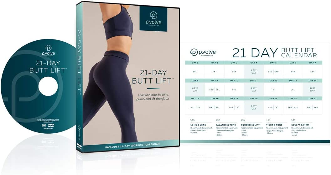 P.volve 21 Day Glute Lift Workout Video DVD for at Home Workouts and Fitness, Includes 21 Day Workout Calendar