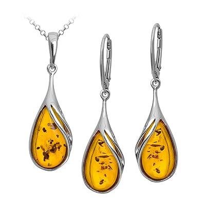 Amber Sterling Silver Drop Pendant Earrings Set Chain 46cm B250TbZC