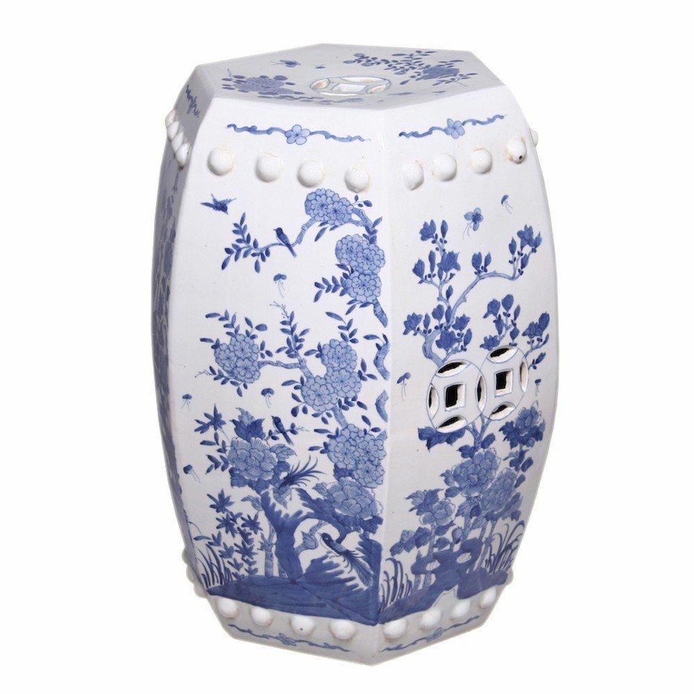 Hexagonal Blue & White Floral Bird Garden Stool by Legends of Asia