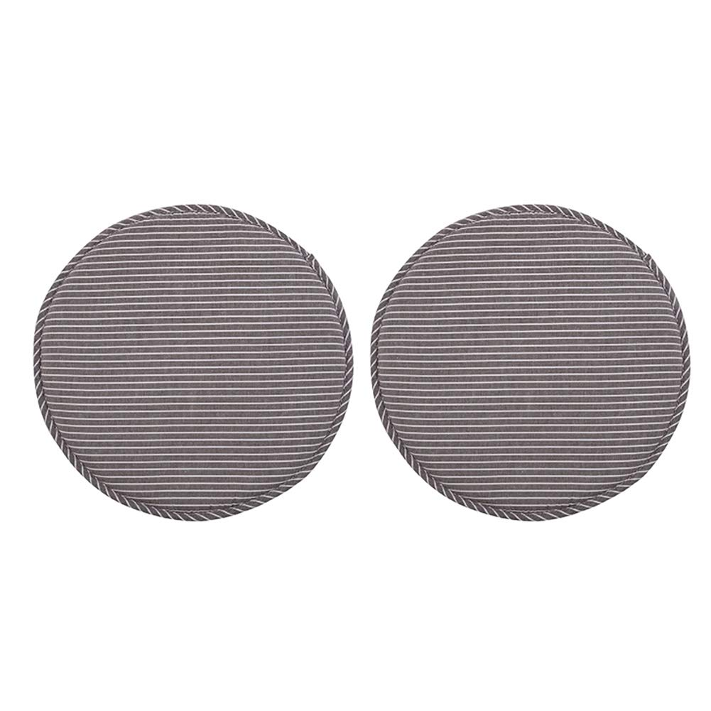 TMJJ 円形スツールカバー ソフトスポンジシートパッド 直径13インチ 2個セット 33cm ブラウン  Cofffe Stripes B07588KQFC