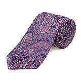 Lantier Designs Men's 100% Silk Paisley Jacquard Woven Necktie, 3'', Rose/Blue