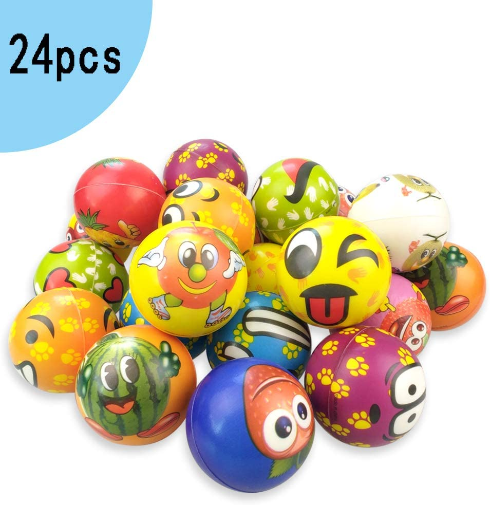 OKGD Set of 24 Fruit Emoji Stress Balls, Funny Face Squeeze and Bouncy Balls Bulk, Soft Stress Relief Balls Toys for Kids Emoji Party Favor, Office Props for Adults Relax
