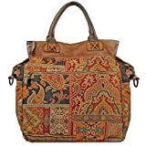 Wilsons Leather Womens Vintage Tapestry Multi Color Tote W/ Blue Trim Multi-Colo