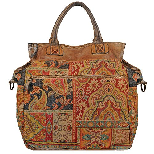 Wilsons Leather Womens Vintage Tapestry Multi Color Tote W/ Blue Trim Multi-Colo by Wilsons Leather