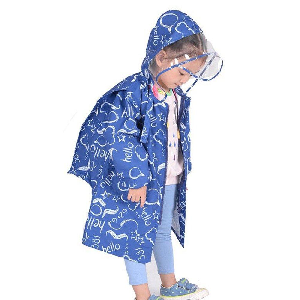 Gagacity Unisex Impermeabile Bambina Pioggia con Cappuccio per Bambini Protegge lo Zaino