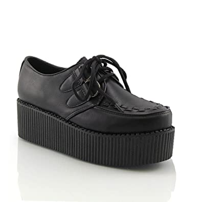 ecbb8451a1 ESSEX GLAM Ladies LACE UP Flat Double Platform Womens Goth Creepers Punk  Wedge Shoes Size  Amazon.co.uk  Shoes   Bags