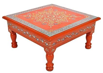Lalhaveli Nursery Stool Decorative Wooden Bajot Table U0026 Puja Chowki 11 X 11  X 5.5 Inch