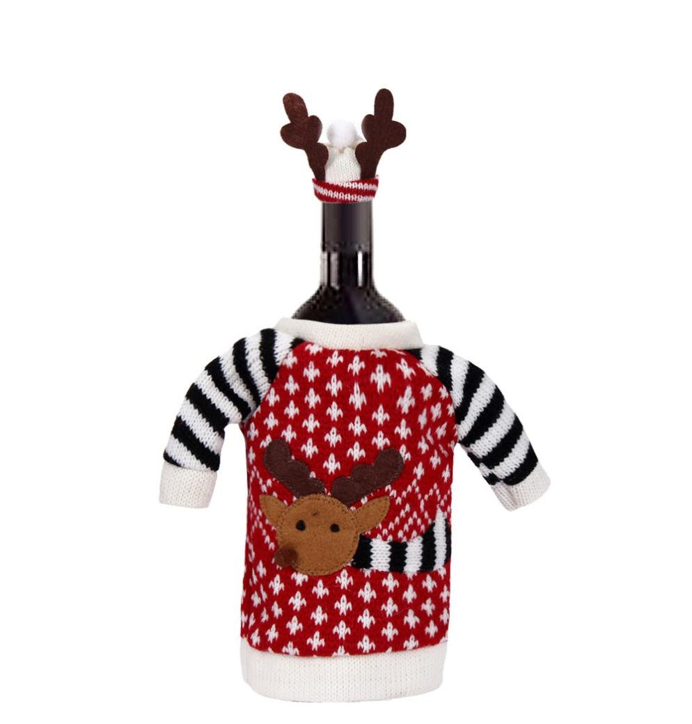 Iuhan Red Wine Bottle Cover Bags Decoration Home Party Santa Claus Christmas
