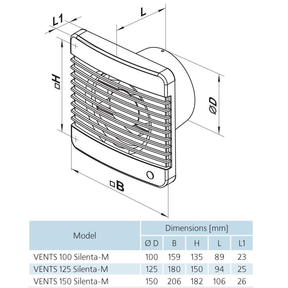 Kugellager R/ückschlagfolie Ventilator Badl/üfter 242 m/³//h 33 db Ger/äuscharme L/üfter ORIGINAL VENTS 150 SILENTA M STANDART 150 mm