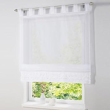 Voile Raffrollo mit Rüschenkante Weiß Gardine \