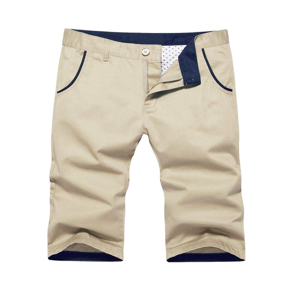 OCHENTA Men's Regular Fit Flat Front Cotton Shorts #140 Khaki 34