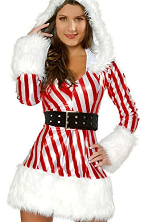 5aabb66921f6 Image Unavailable. Image not available for. Color: Yoyo Women's Sexy Cute  Candy Cane Christmas Costume ...
