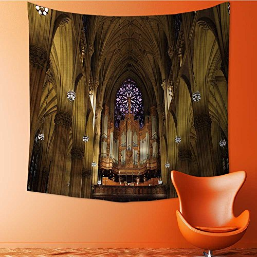 (Muyindo Wall Tapestry Flower Tapestry Floral Words Tapestry Wall Hanging the pipe organ in st patrick s cathedral in manhattan nyc Tapestry Wall Decor Quote Tapestry/59W x 59L INCH)