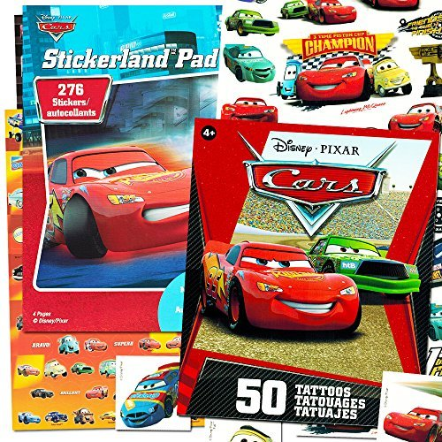 Disney/Pixar Cars Stickers and Tattoos Party Favor Pack (Bundle with 250 Stickers and 75 Temporary -