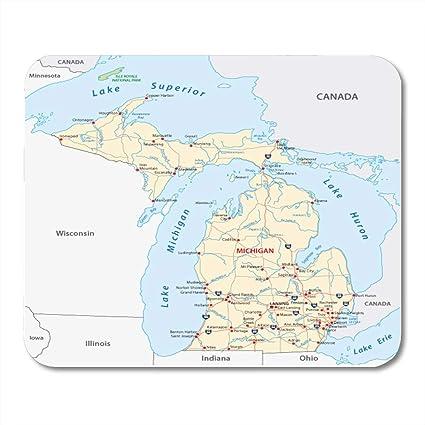 Michigan And Ohio Map.Amazon Com Boszina Mouse Pads Ohio Detroit Michigan Road Map