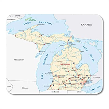 Amazon.com : Boszina Mouse Pads Ohio Detroit Michigan Road Map ...