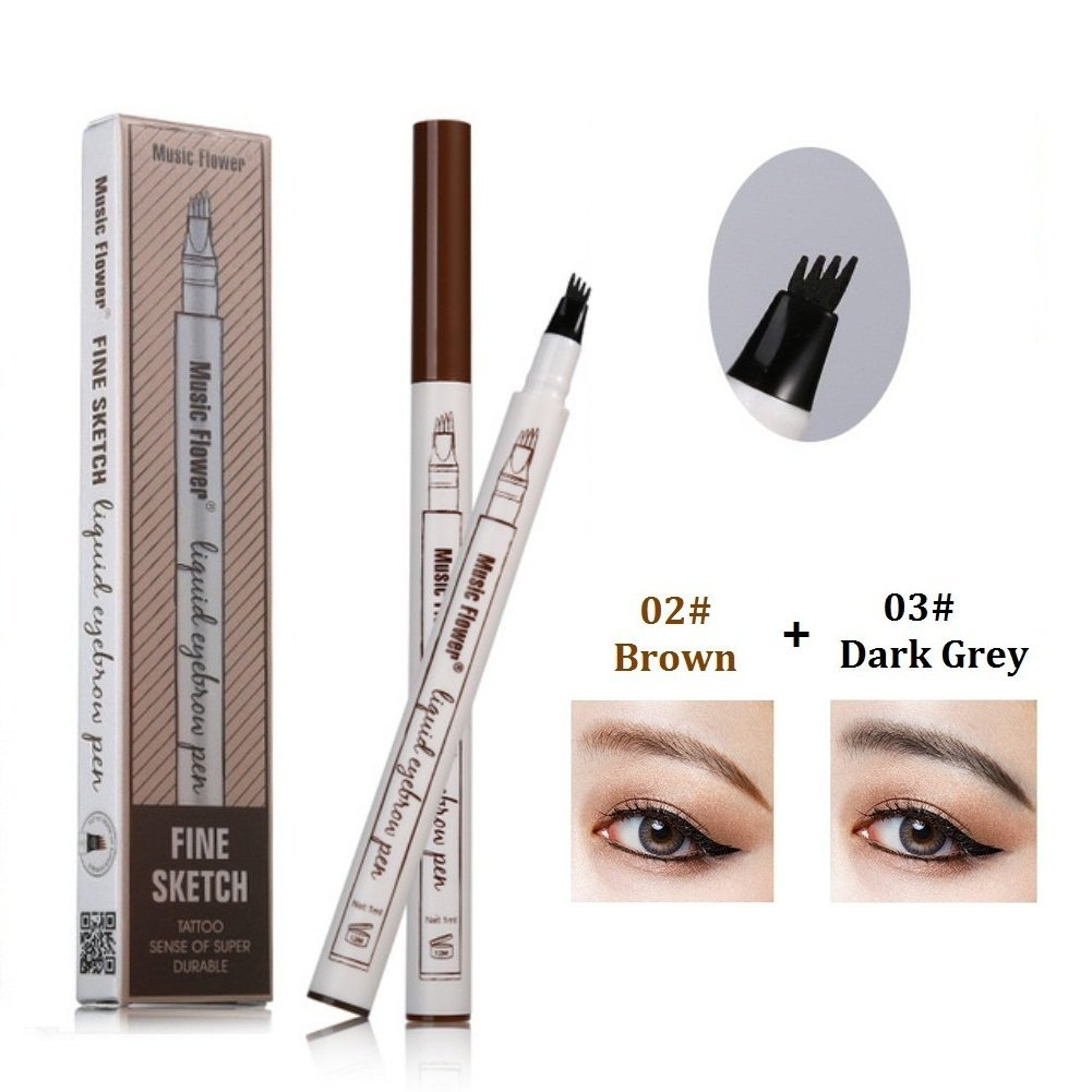 2Pcs Tattoo Eyebrow Pen with Four Tips Long-lasting Waterproof Brow Gel and Tint Dye Cream for Eyes Makeup (2#Brown+3#Dark Gray)