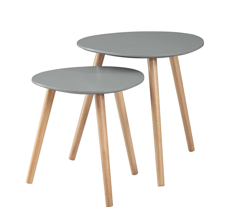 Convenience Concepts Oslo Nesting End Tables, Gray/Light Oak,