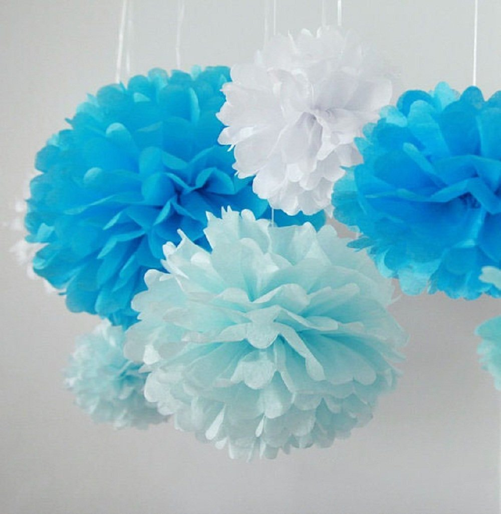 Amazon 10pcs white tissue hanging paper pom poms hmxpls flower amazon 10pcs white tissue hanging paper pom poms hmxpls flower ball wedding party outdoor decoration premium tissue paper pom pom flowers craft kit mightylinksfo