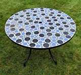 Exclusive Outdoor Round Concrete Mosaic Dining Table - Blue