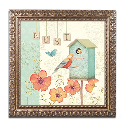 Welcome Home IV Artwork by Daphne Brissonnet, 16 by 16-Inch, Gold Ornate Frame