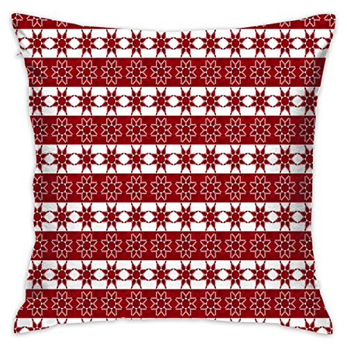 18 X 18 Inches Feathered Star Red White Throw Pillow Covers Cases With Pillow Insert Bedroom Home Decor