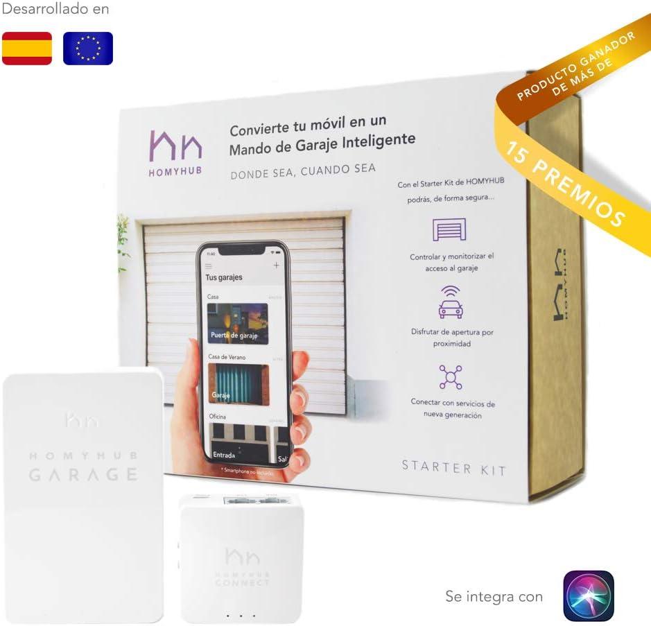 HOMYHUB - Starter Kit | Mando a Distancia Garaje WiFi - Mucho más que Abrir Puertas de Garaje con tu Movil - Controla hasta 2 puertas por Starter Kit