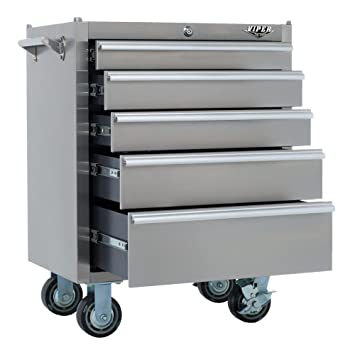 viper tool storage v2605ssr 26inch 5drawer 304 stainles steel rolling tool cabinet