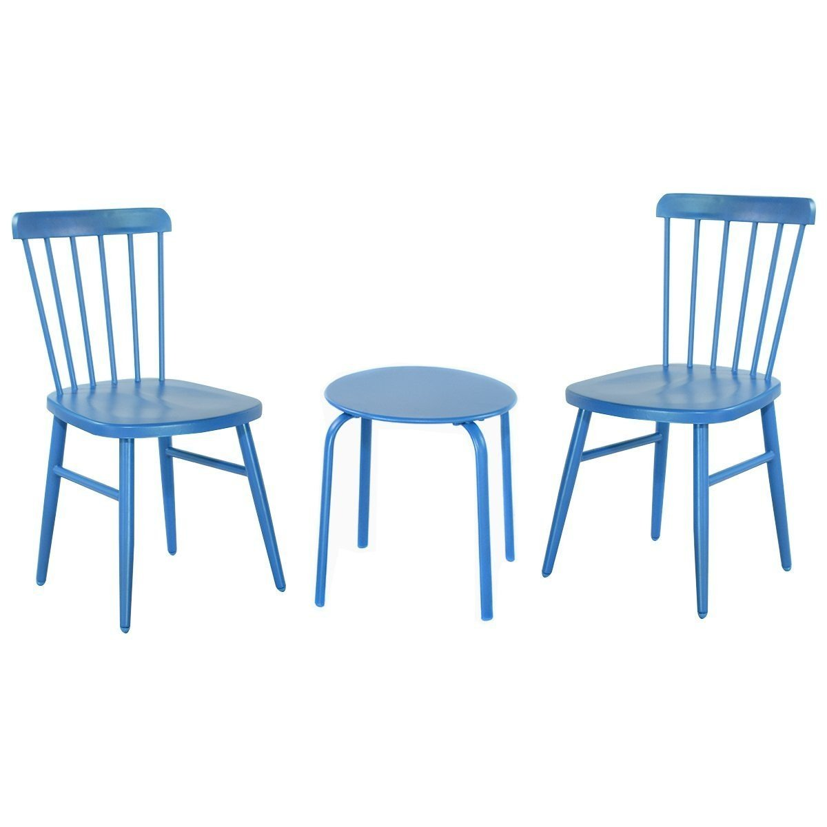 MD Group Bistro Table Chair Sets Outdoor Patio Blue Steel Heavy Duty Frame Kitchen Bar Stool
