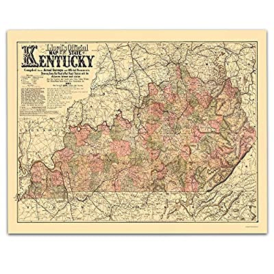 Kentucky Vintage Map Circa 1863-11 x 14 Unframed Print - Great Housewarming Gift. Kentucky Themed Office Decor. Great Gift Under $15
