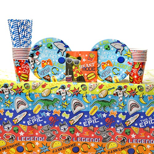 Epic Plate - Epic Party Supplies Pack for 16 Guests: Straws, Dessert Plates, Beverage Napkins, Table Cover, and Cups