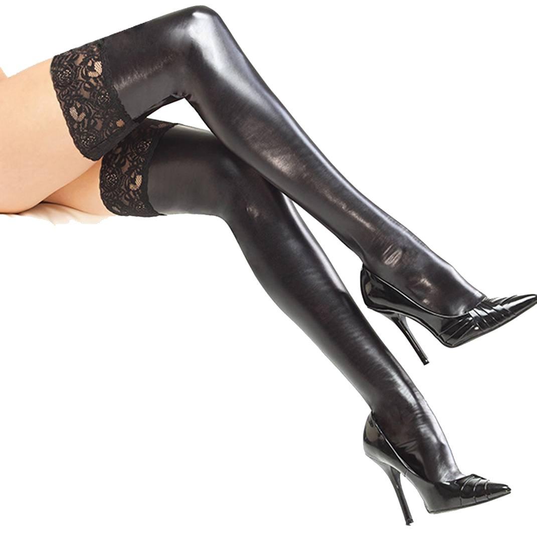 Frauen Faux Leder Schenkel Hohe Strümpfe Spitze Lange Wet Look Socken Fitting für Club (1pair) LBSC/Xz/WJ134-Black
