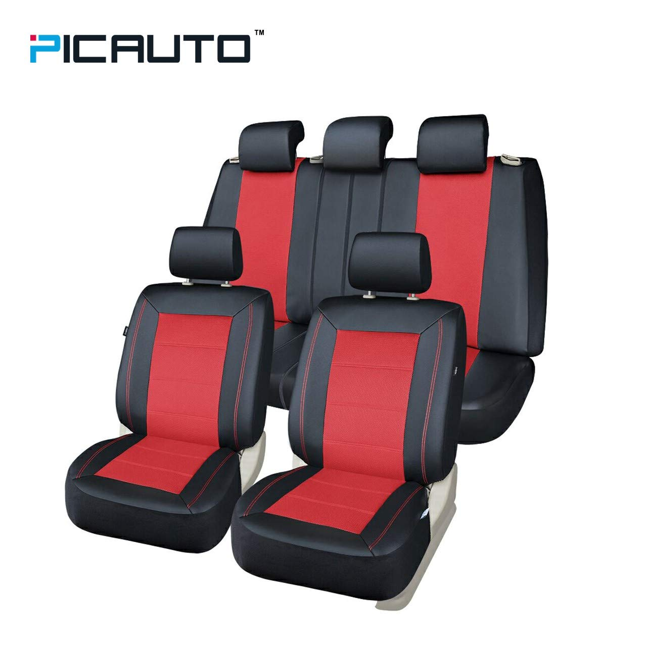 Pic Auto Universal Fit Full Set Mesh And Leather Car Seat Cover Red