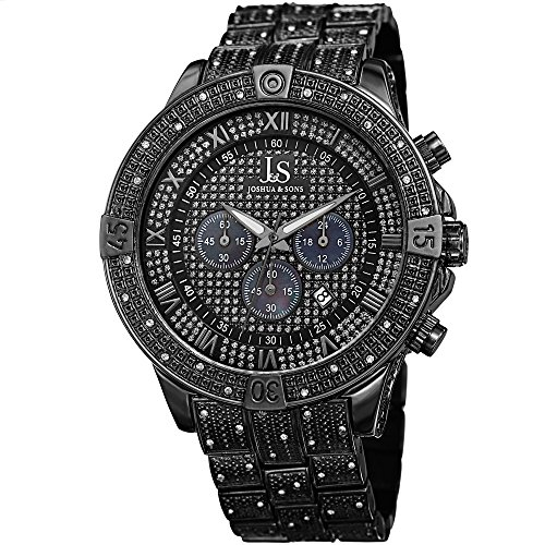 Joshua & Sons Chronograph Mother-of-Pearl Crystal Pave Dial with Polished and Beaded Black Bezel on Black Beaded Stainless Steel Bracelet Watch JX121BK (Mother Pearl Of Blue Chronograph)