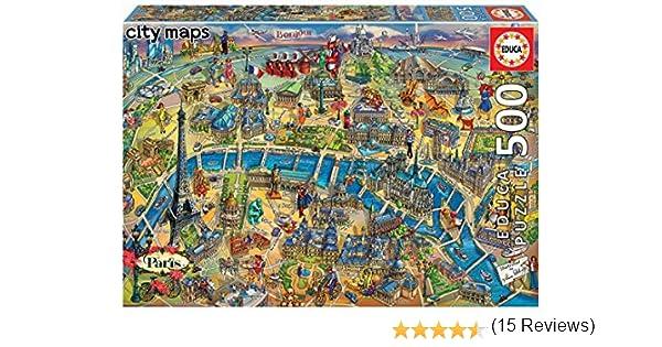 Educa Borras - Serie City Maps, Puzzle 500 piezas Mapa de París: Amazon.es: Juguetes y juegos