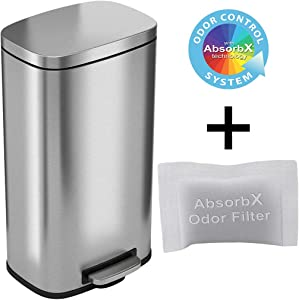 iTouchless SoftStep 8 Gallon Step Pedal Trash Can with AbsorbX Activated Carbon Filter, Stainless Steel, 30 Liter Kitchen Garbage and Recycle Bin Perfect for Office, Home and Kitchen