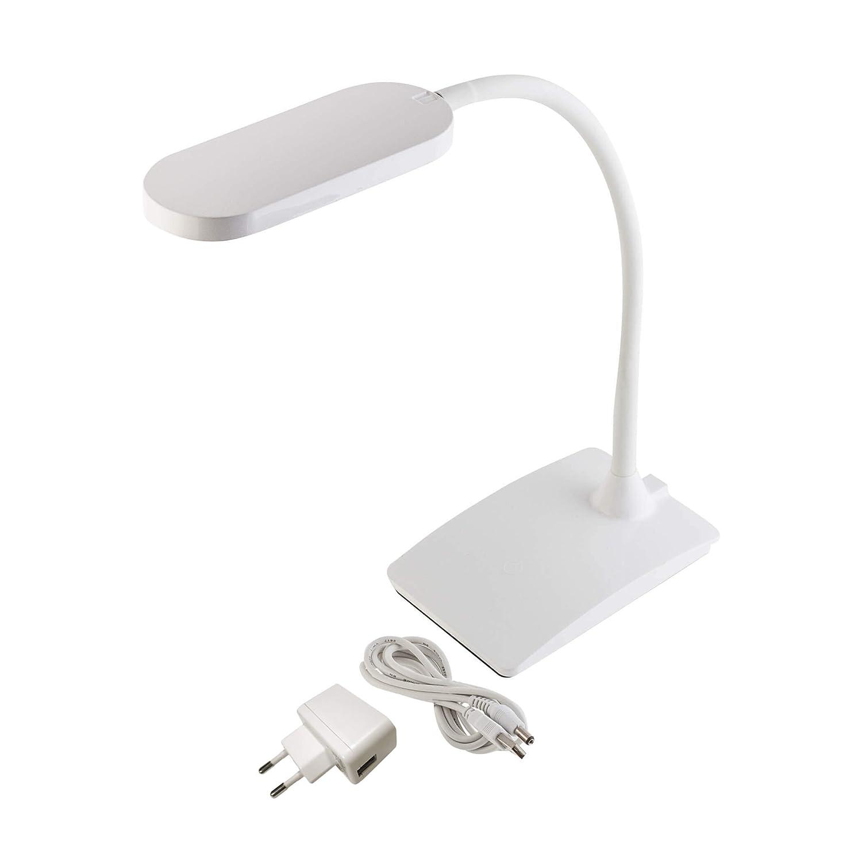 SEBSON® LED Schreibtischleuchte dimmbar, 3 Helligkeiten, weiß, Touch, 5W, 220lm weiß