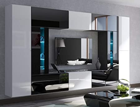 Home Direct Julian N67 Modern Living Room Wall Unit Living Room Cabinet Furniture Media Wall White Black An67 19wb Hg2 Led Blue Amazon De Kuche Haushalt