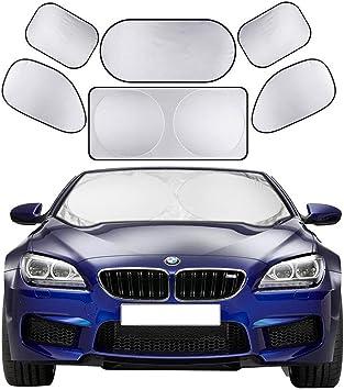 Autoamerics Panel Plegable 2 Piezas Protector Solar Con Visera Universal De Ajuste Bloquea Los Rayos UV M/áximos Y Mantiene Su Veh/ículo Fresco Reflector De Calor Parasol Para Parabrisas De Coche