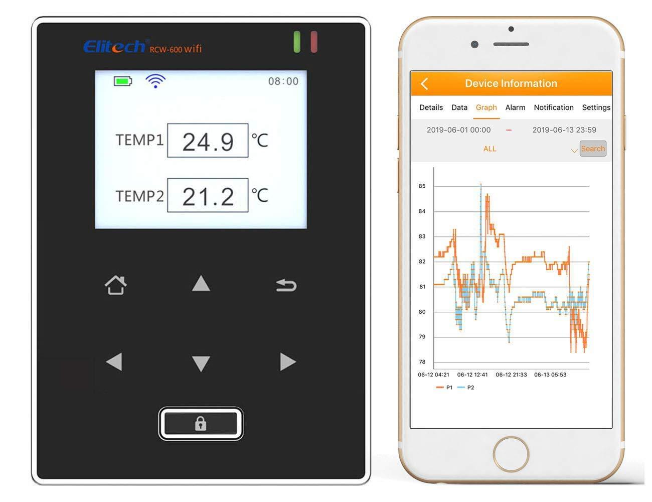 Elitech RCW-600WiFi Medidor de Temperatura de Dobles Sensores, Registrador Termometro con Sonda Externa, Alarmas por APP, Operación remota por ELITECH Cloud, para Restauración, Logística, Medicina