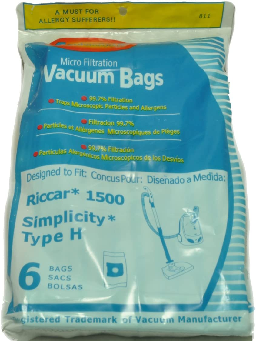 Riccar 1500 And Simplicity Type H Canister Vacuum Cleaner Microfiltratioin Bags