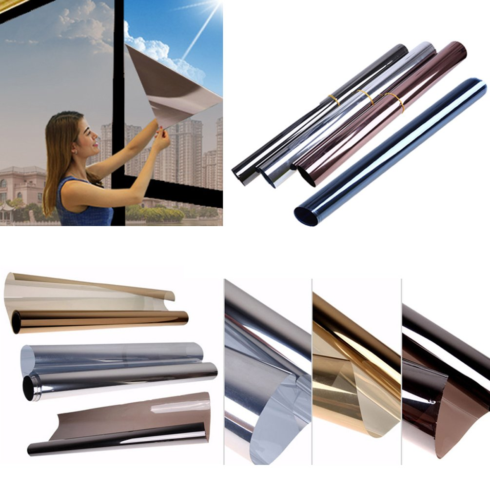 Solar Reflective Window Tint Mirror Privacy Window Film Glass Sticker for Home, Office (3, Grey + Silver)
