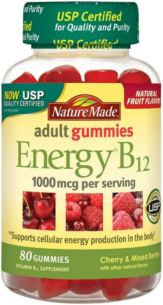 Nature Made Energy B-12 Adult Gummies, Cherry Wild Berries 80 ea Pack of 3