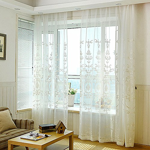 Cheap WPKIRA Modern European Floral Embroidered Linen Sheer Curtains Panels Drapes Window Treatments Half Shade Voile Tulle Rod Pocket Room Divider for Balcony Window , 1 Panel , W54 by L84 inch White/Cream