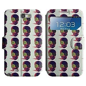 ZECASE Cráneo colores bastante Llanura Punk lindo diferente Cartera Funda Carcasa Cuero Tapa Case Para Samsung Galaxy Note 2 N7100 No.1001852